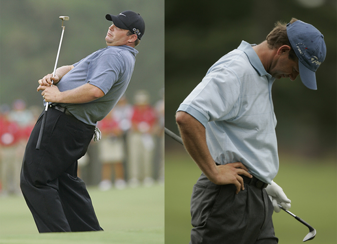 Retief Goosen (right photo) led the 2005 U.S. Open at Pinehurst by three after 54 holes, and Jason Gore (left photo) was tied for second at even par. Then came the final round. Goosen fell apart before he made the turn and shot 81. Gore finished 14 over in his final round for an 84. Neither finished in the top 10, and Gore dropped all the way to T49. Michael Campbell beat Tiger Woods by two to win.