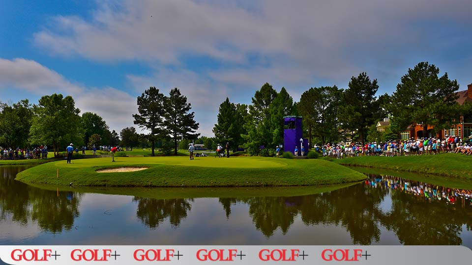 The par-3 11th at TPC Southwind is only 159 yards but packed with trouble.