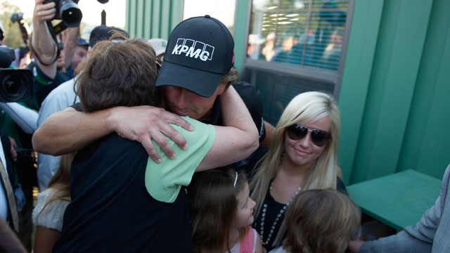 Phil Mickelson victorious, hugging mother Mary Mickelson after winning tournament on Sunday at Augusta National.