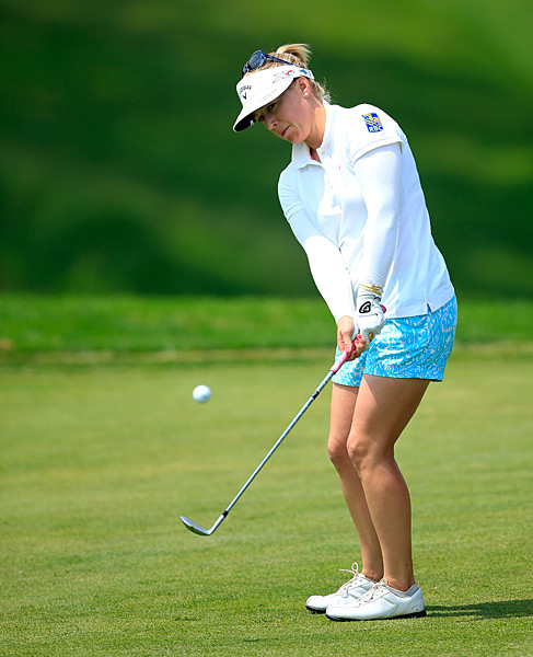 Morgan Pressel was even through 13 holes.