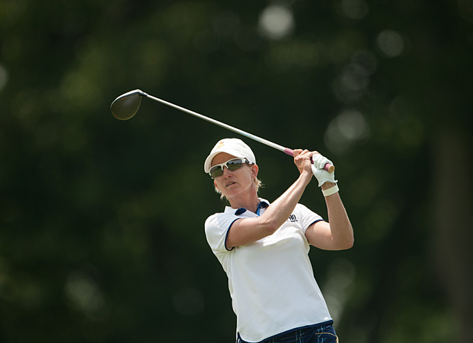 Hall of Famer Karrie Webb sits atop the leaderboard at seven under.