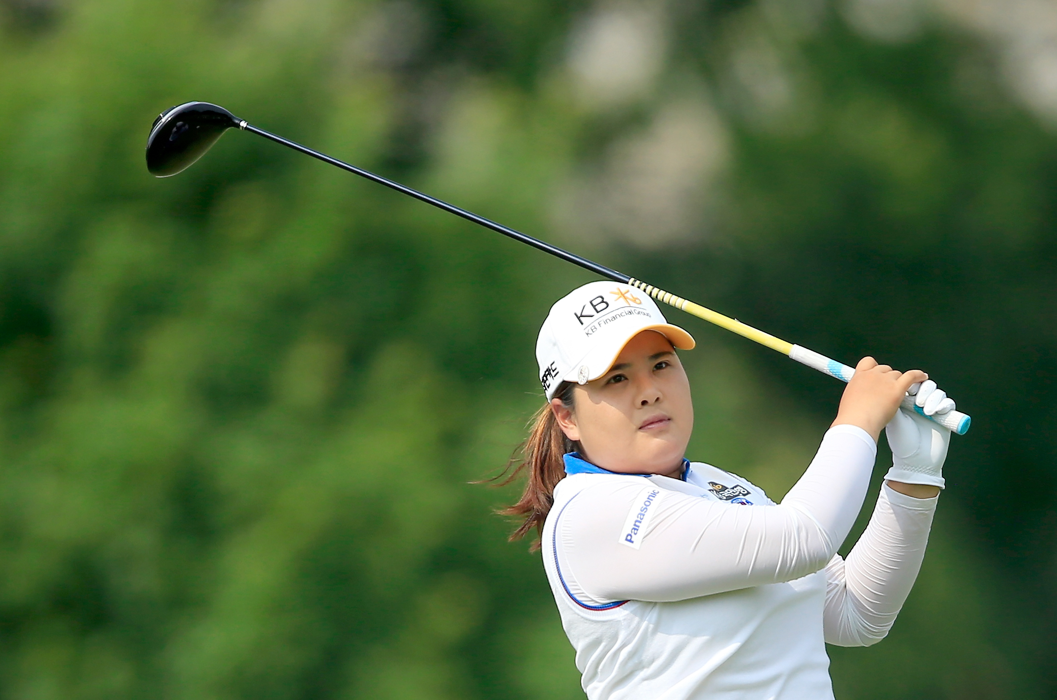 Inbee Park tees off on the 18th hole during the second round of the Women's PGA Championship.