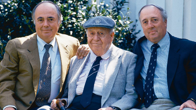 (From left) Robert Trent Jones, Jr., Robert Trent Jones, Sr., and Rees Jones, at the 1993 Masters.
