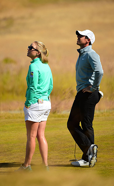 LPGA pro Morgan Pressel followed McIlroy inside the ropes on Wednesday.