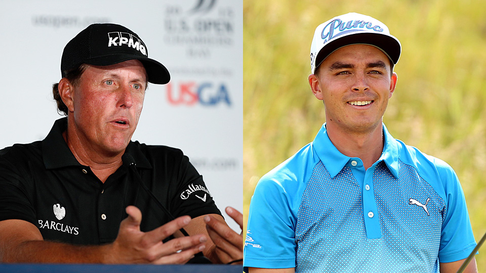 Phil Mickelson and Rickie Fowler on Tuesday at Chambers Bay.