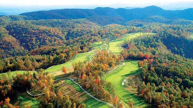 An aerial view of the Highland Course at Primland Resort.