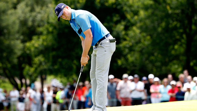 Jordan Spieth putts on the third hole during round one of the 2015 AT&T Byron Nelson.