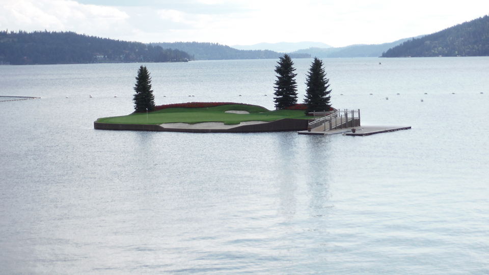 The most famous hole at the Coeur d'Alene Resort is the 14th for its floating green.