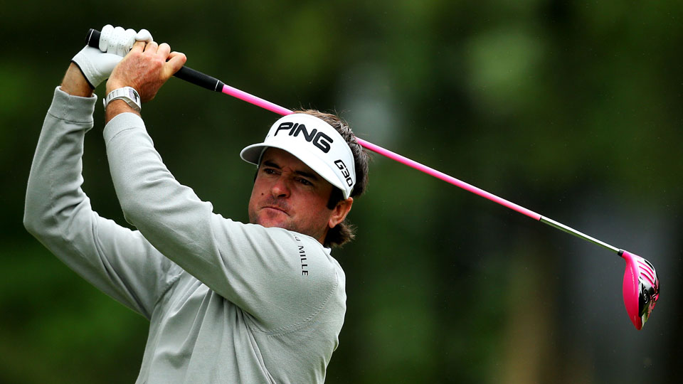 Bubba Watson plays his shot from the fourth tee during the final round of the Travelers Championship at TPC River Highlands.