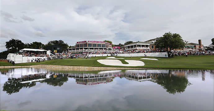 A general view of the 18th hole during the final round of the Crowne Plaza Invitational at Colonial Country Club.