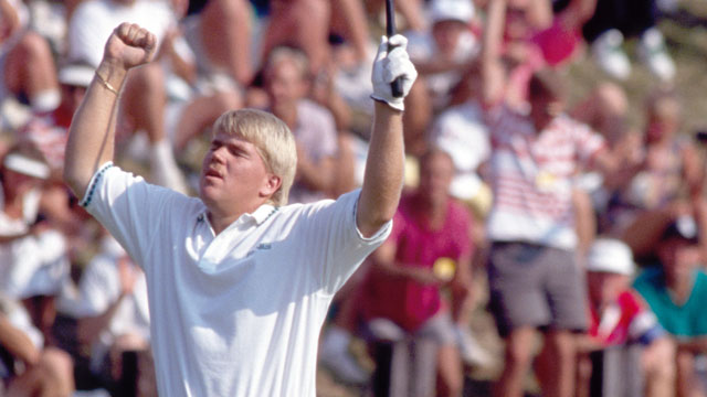 John Daly reacts on the 72nd hole during the US PGA Championship held at the Crooked Stick Golf Club in Indiana, 11th August 1991.