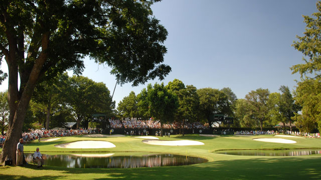 The gallery around No. 13 green during the Final Round of the 89th PGA Championship held at Southern Hills Country Club in Tulsa, Oklahoma.