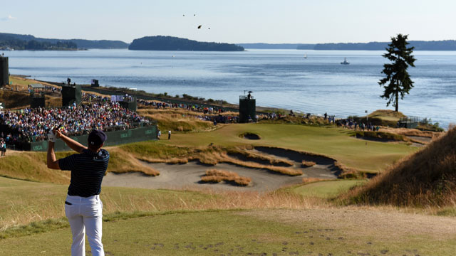 Jordan Spieth watches his tee shot on the 15th hole during the final round of the 115th U.S. Open Championship at Chambers Bay on June 21, 2015 in University Place, Washington.