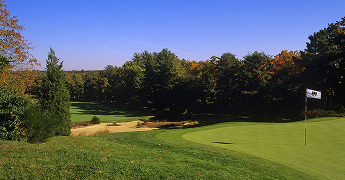 A scenic view of Pine Valley Golf Club in Pine Valley, New Jersey.