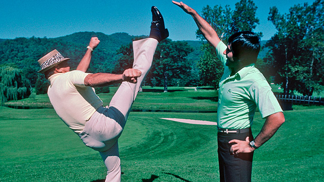 Sam Snead (left) demonstrates his fitness to Spain's Severiano Ballesteros during the 1979 Ryder Cup at The Greenbrier.