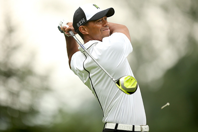 Tiger Woods tees off on the sixth hole during the second Round 2 of the Greenbrier Classic.