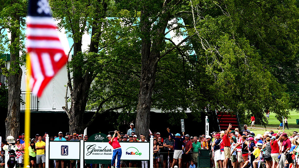 Robert Streb tees off in the third round of the Greenbrier Classic.