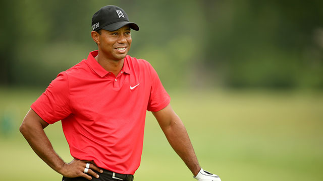 Tiger Woods carded three birdies on Sunday at the Greenbrier Classic.