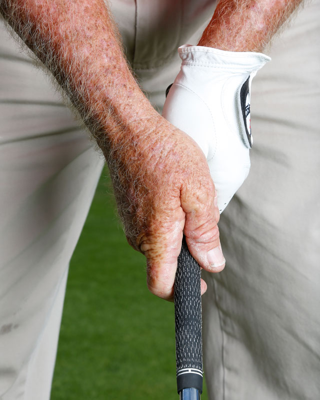 A neutral grip for the side-on golfer.