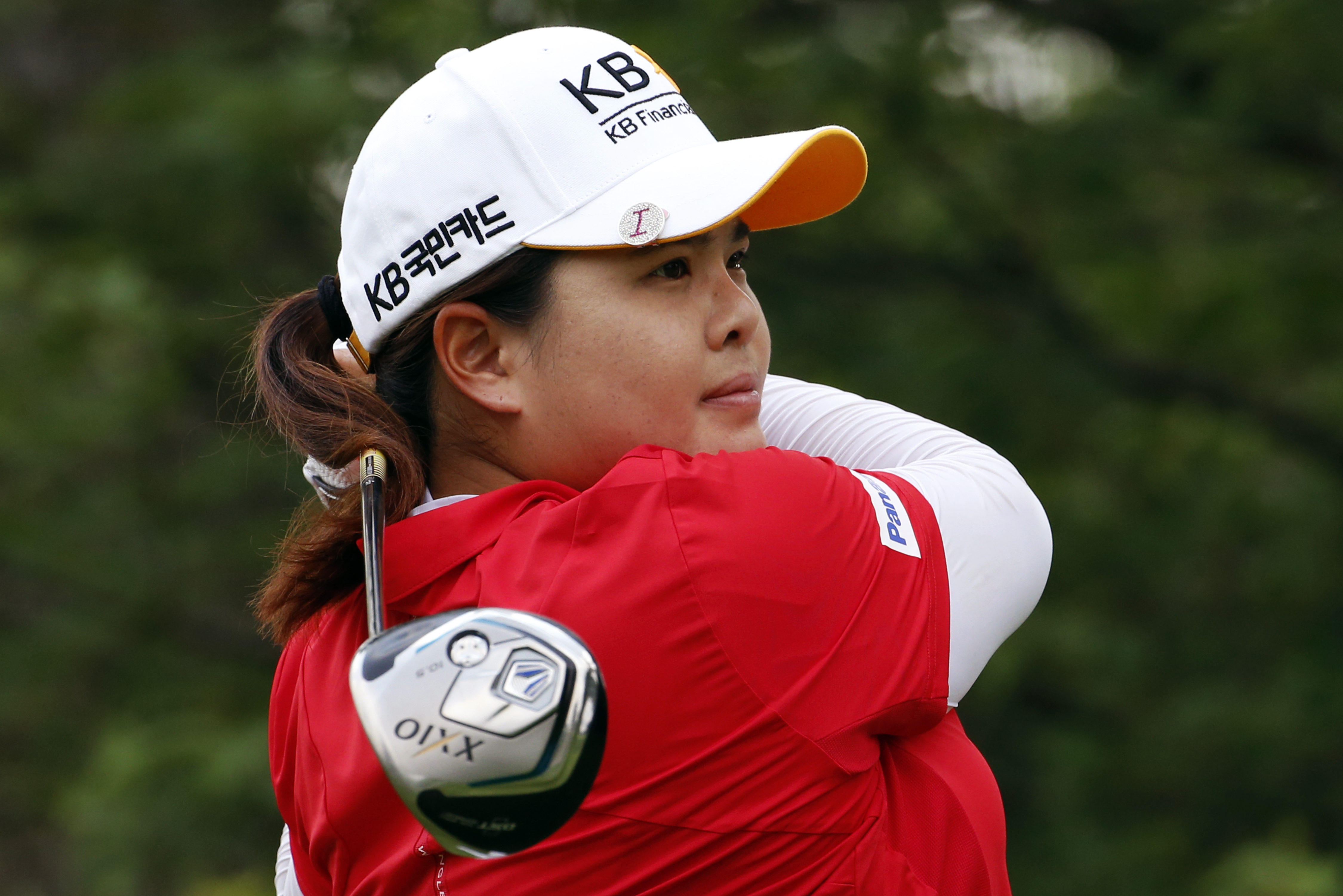 Inbee Park of South Korea hits her drive on the ninth tee during a practice round for the U.S. Women's Open at Lancaster Country Club in Lancaster, Pa., Tuesday, July 7, 2015.