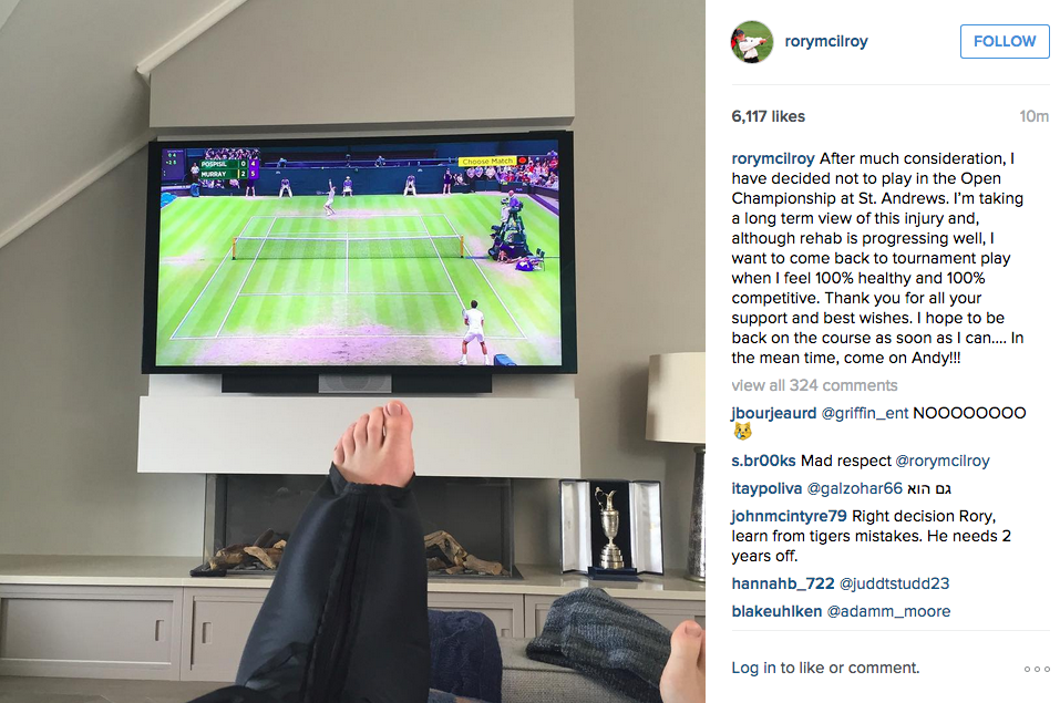 McIlroy posted an Instagram photo letting the world know he would not be at this year's British Open.