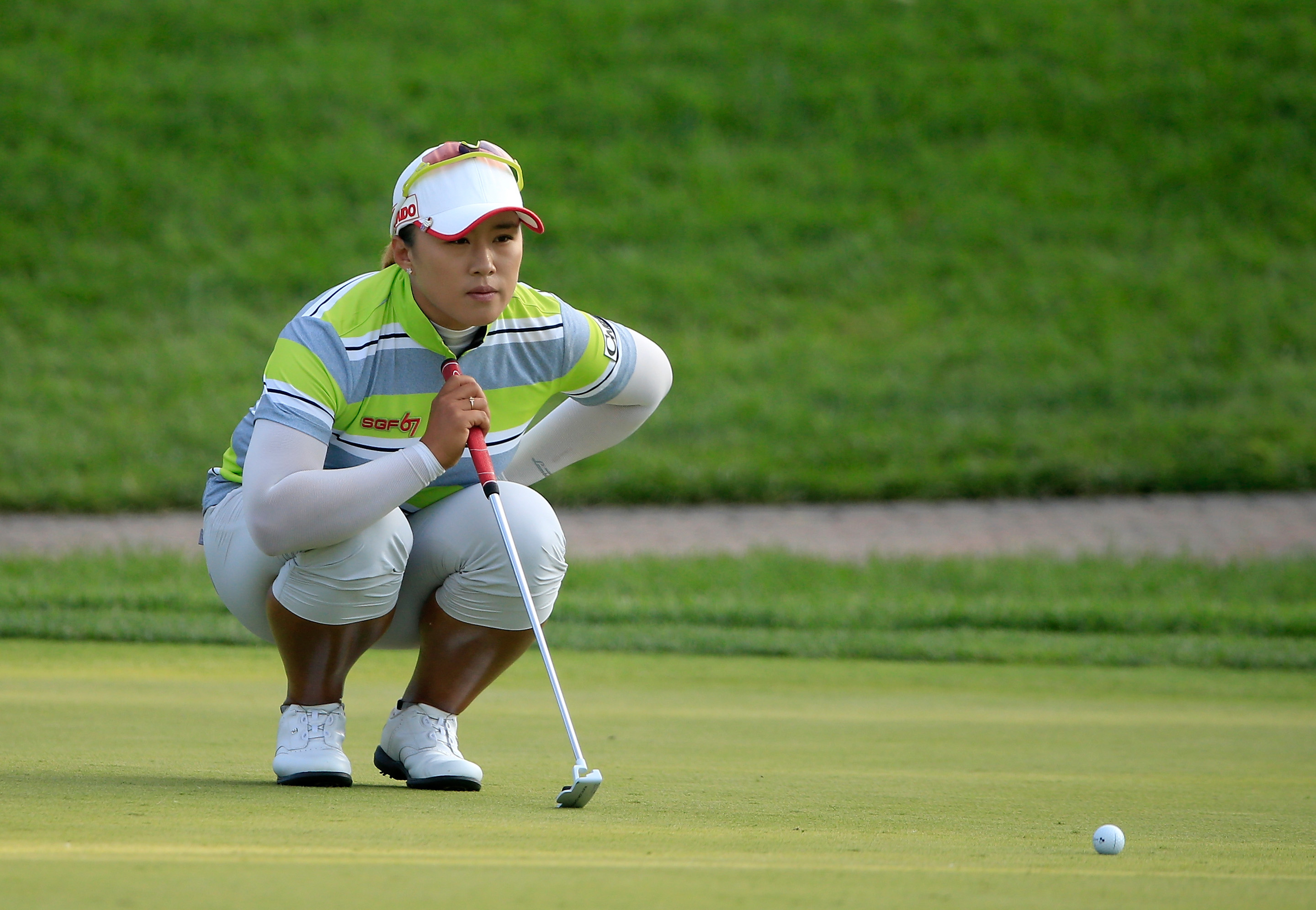 Amy Yang lines up a putt on the 18th hole during the second round of the U.S. Women's Open.