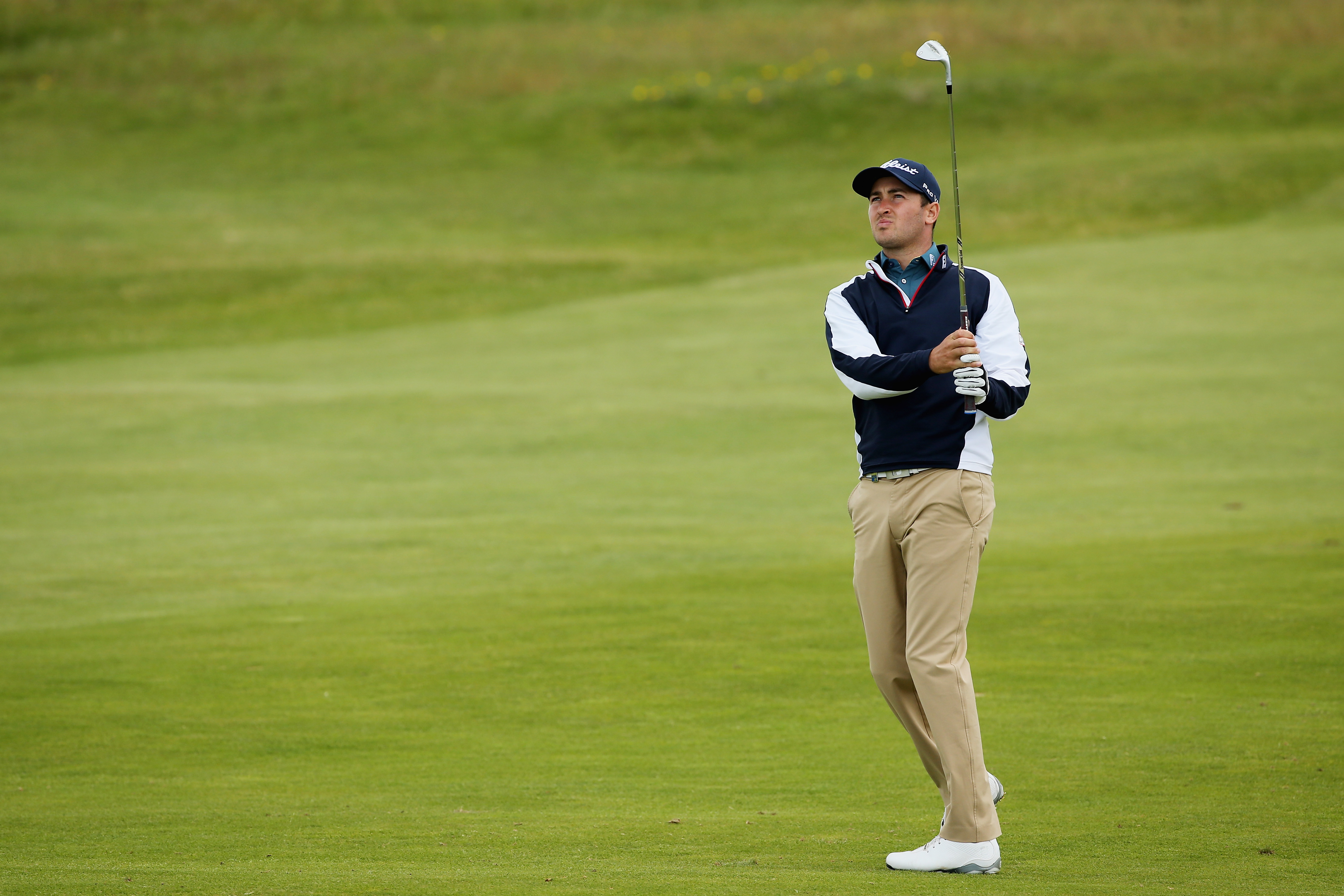 Daniel Brooks hits an approach shot on the 16th hole during the second round of the Scottish Open.