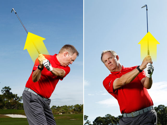 Thinking only about your thumbs creates a perfect arc through the ball to square the face at impact.