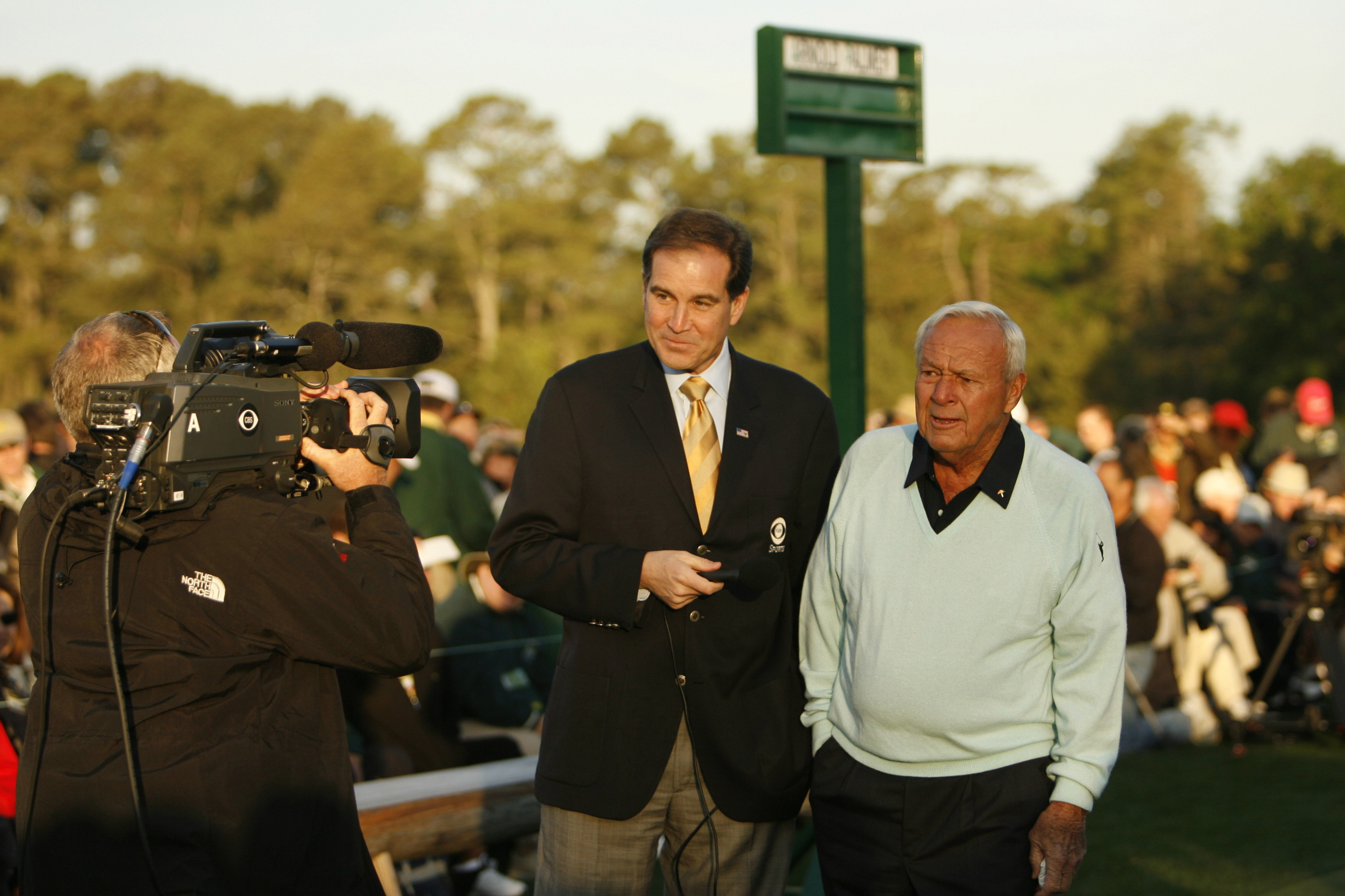 Arnold Palmer with CBS Sports announcer Jim Nantz during a media interview before the ceremonial tee shot on at the 2007 Masters.