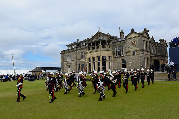 The Royal Marines band performed for spectators on Wednesday.