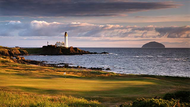 A view from behind the green on the par-4 10th hole on the Ailsa Course at Turnberry.