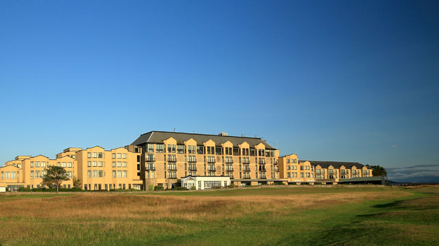 A view of the Old Course Hotel from the second fairway of the Old Course at St. Andrews.