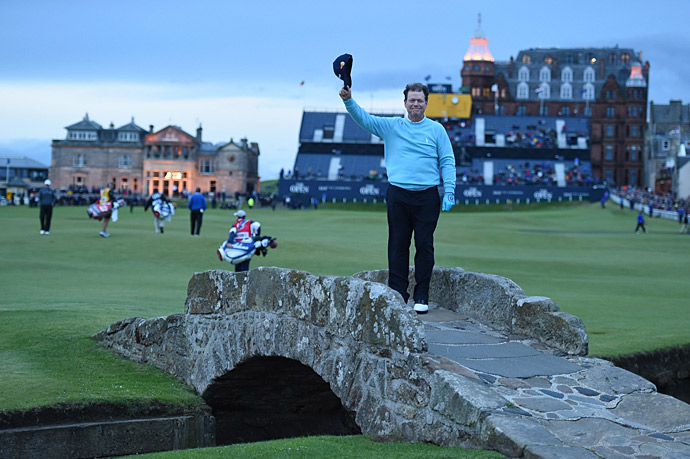 Five-time champion Tom Watson closed out his storied British Open career on the Swilcan Bridge Friday night.