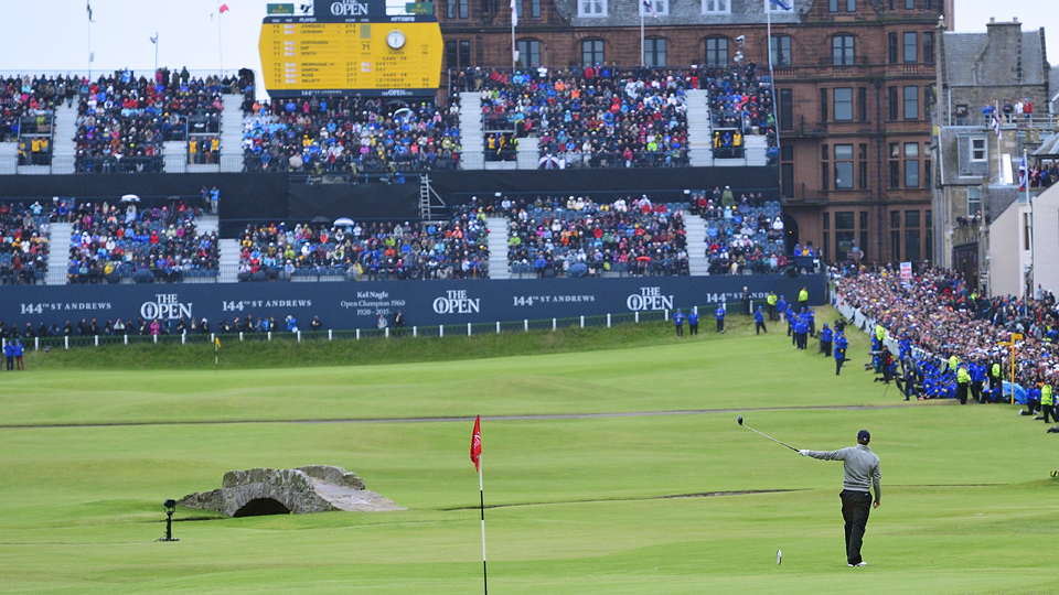 Jordan Spieth tees off on the 18th hole during Monday's final round of the 2015 British Open at St. Andrews.