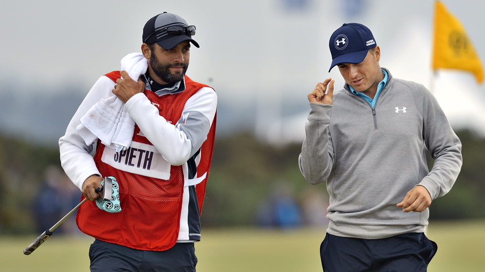 Jordan Spieth, with caddie Michael Greller, was that close to his third straight major title.