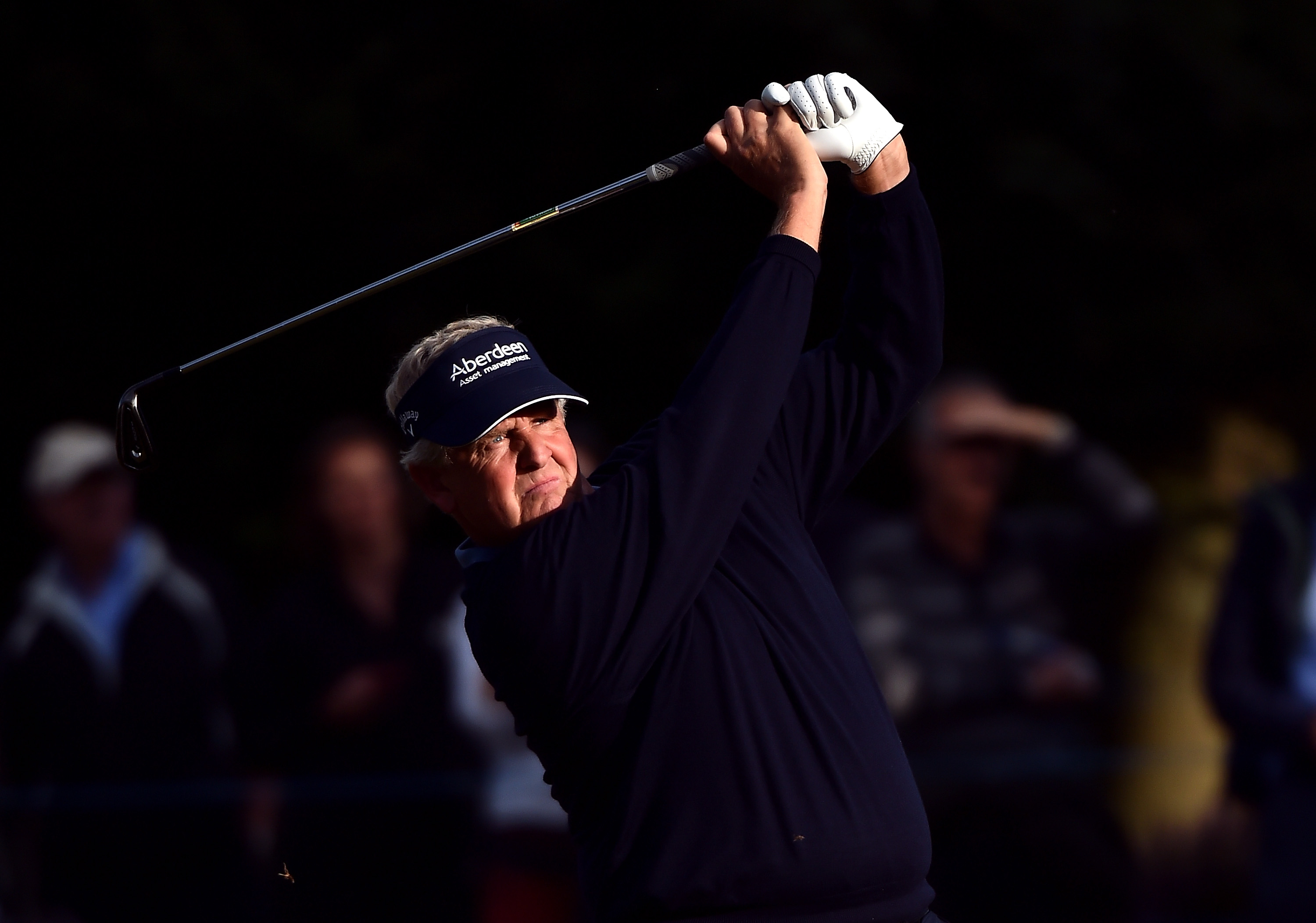 Colin Montgomerie plays his second shot into the second green during the third round of the Senior British Open.