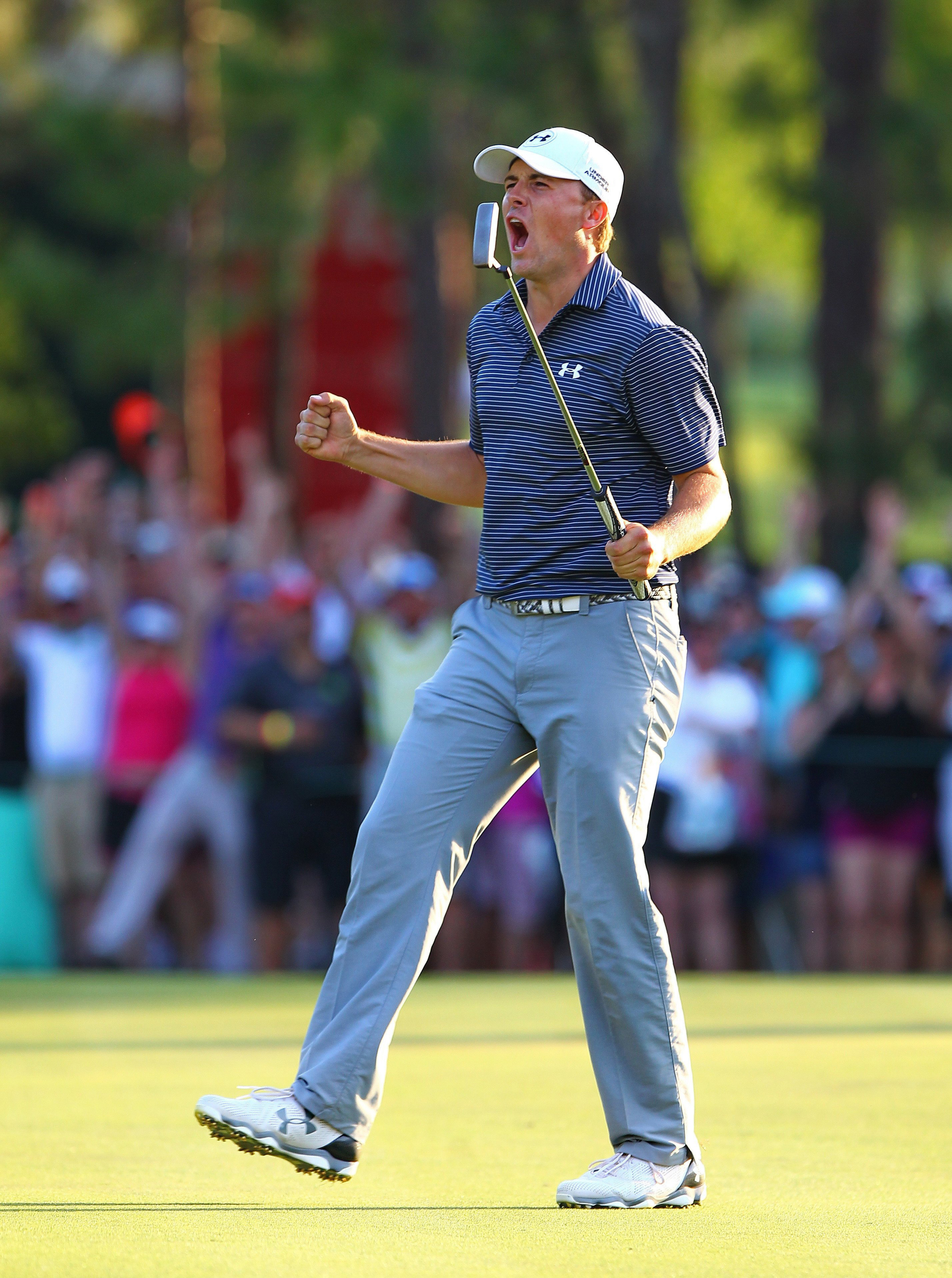 Jordan Spieth celebrates after sinking his final putt to win a three-hole playoff in the fourth round of the 2015 Valspar Championship.