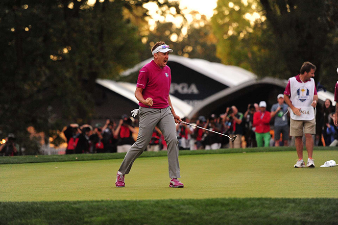 'Miracle of Medinah:' Ian Poulter makes his final putt to win on the 18th during fourball matches of the 2012 Ryder Cup.