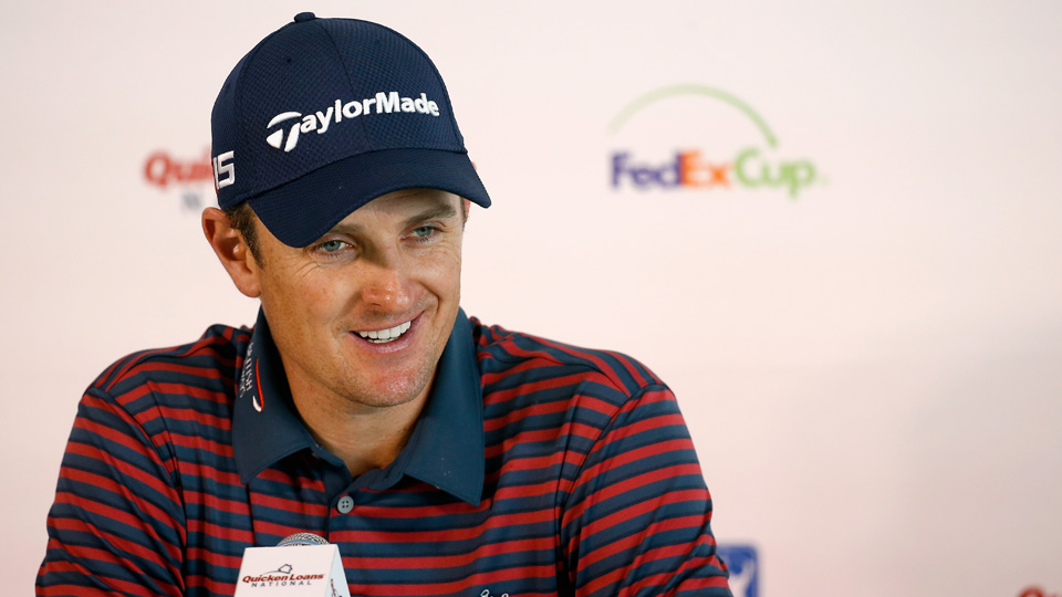 Justin Rose addresses the media during the Quicken Loans National Pro-Am on July 29, 2015, in Gainesville, Virginia.