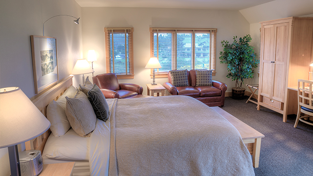The Lodge Suite's well-appointed master bedroom is designed for comfort.