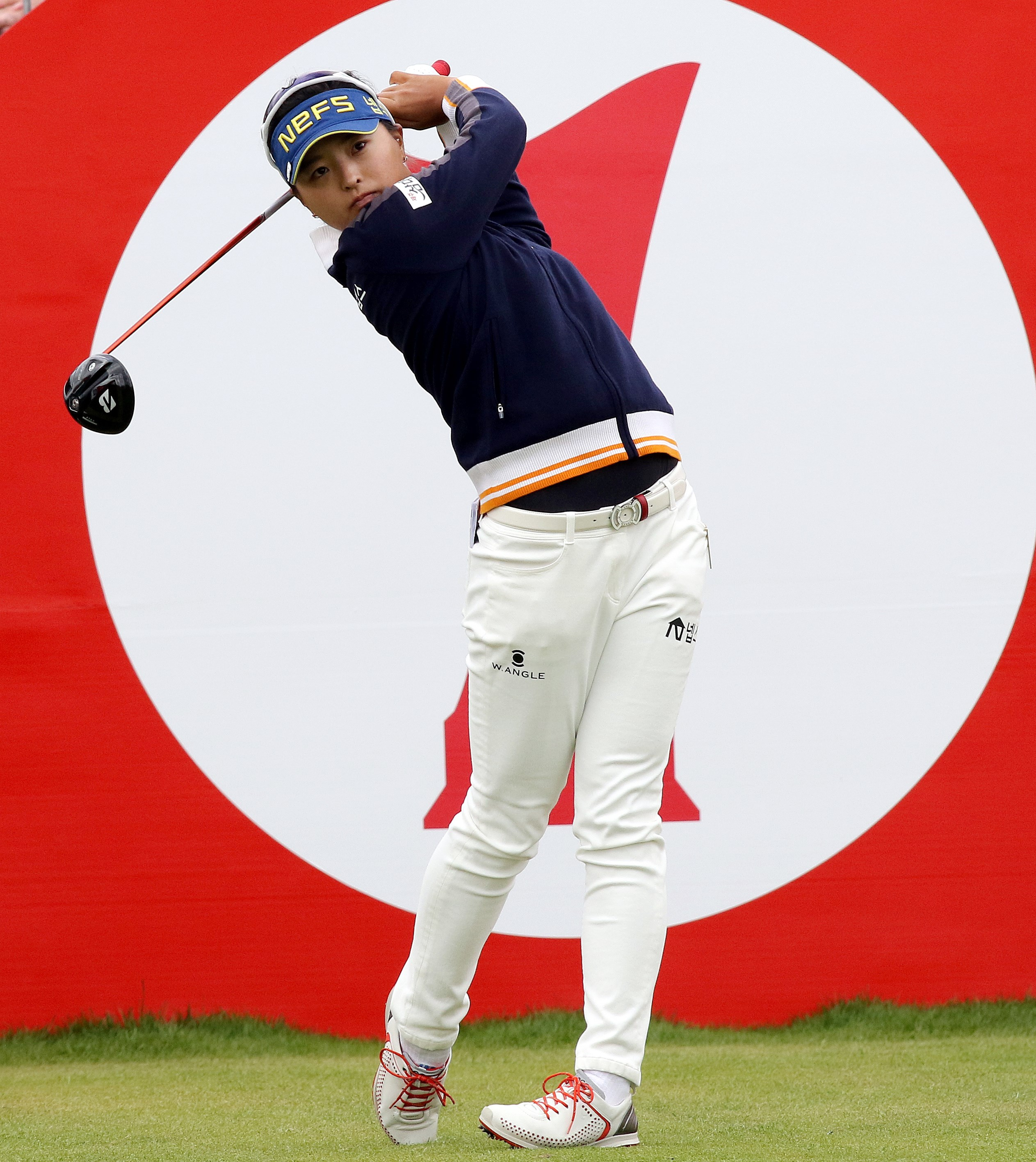 Jin-Young Ko tees off on the first hole during the third round of the Women's British Open.