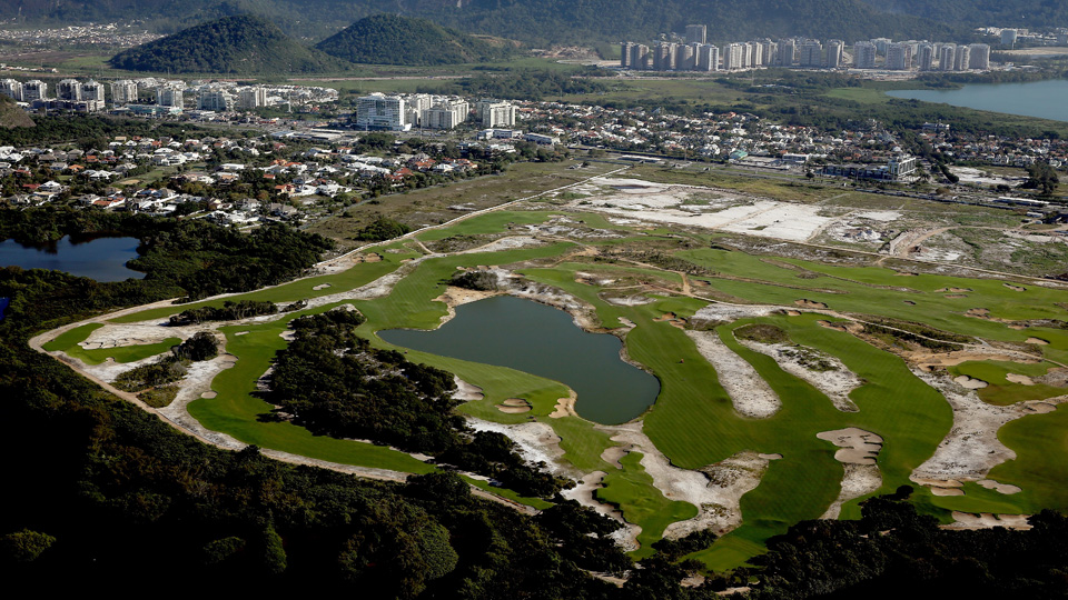 Construction continues at the golf course in the Barra da Tijuca neighborhood with about one year to go to the Rio 2016 Olympic Games in Rio de Janeiro, Brazil.