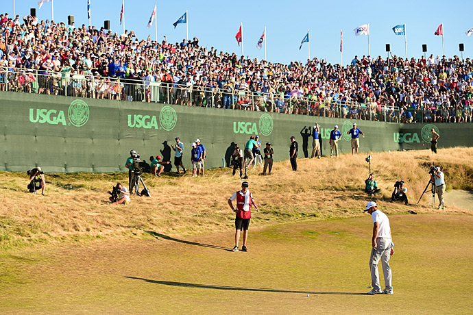 At Chambers Bay in 2015, Dustin Johnson was left with a 12-foot putt on the 72nd hole to win the U.S. Open. He missed it, then missed the three-foot comebacker that would have forced a playoff, handing Jordan Spieth the trophy.