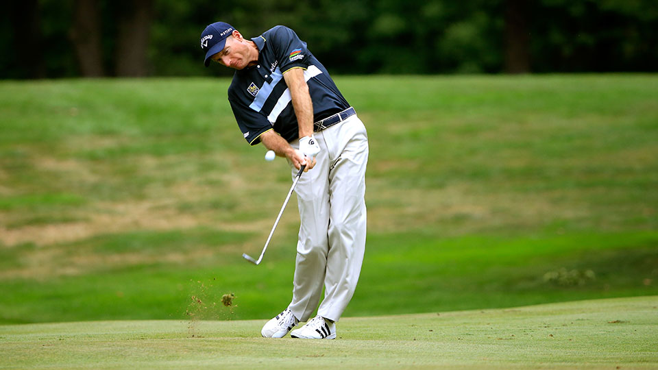 Jim Furyk plays a shot on the sixth hole during the third round of the World Golf Championships - Bridgestone Invitational at Firestone Country Club South Course on August 8, 2015 in Akron, Ohio.