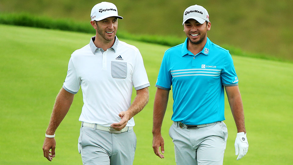 Dustin Johnson opened the first round of the PGA Championship with a 66 while Jason Day carded a 69.