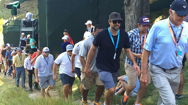 Aaron Rodgers followed Rory McIlroy and Jordan Spieth Friday morning at Whistling Straits.