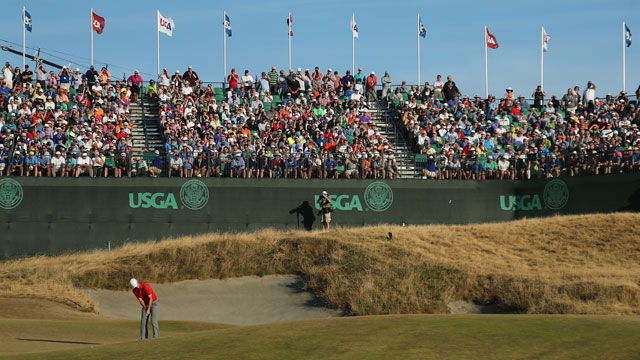 Fans watch Jordan Spieth compete at the 2015 U.S. Open at Chambers Bay.