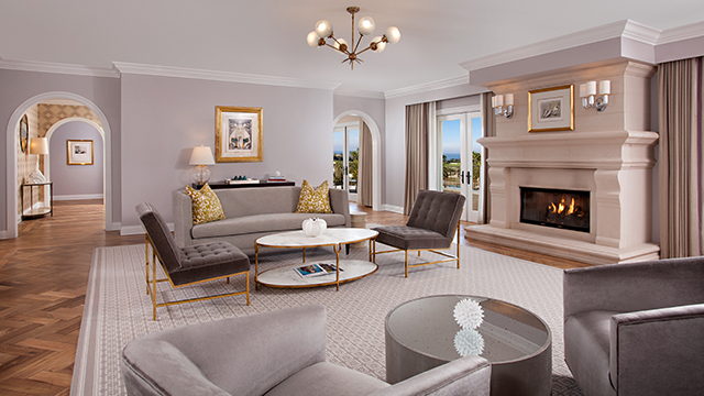 At 3,100 square feet, the living room in the Presidential Suite has plenty of space for everyone.
