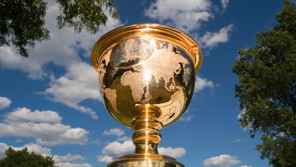 The Presidents Cup trophy.