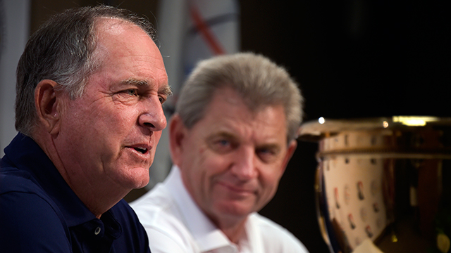 U.S. team captain Jay Haas (right) and International team captain Nick Price address the media.
